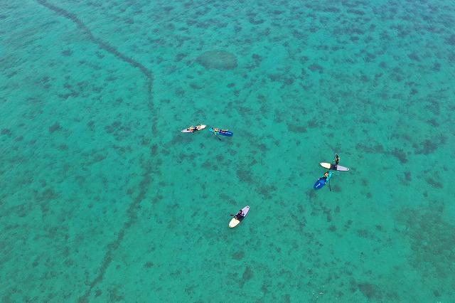 小浜島の上空からSUPする人を空撮