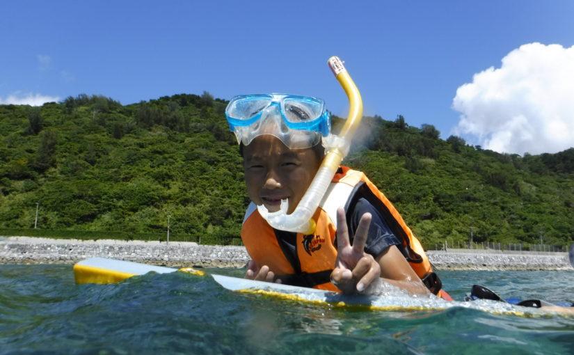沖縄の国頭村の海でシュノーケリング