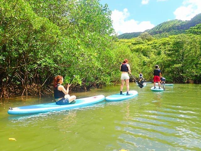 カヌーに乗る団体