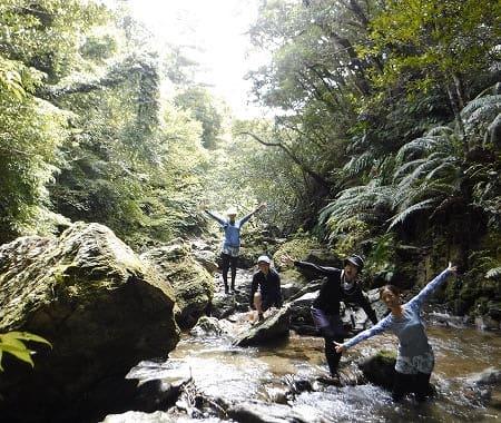 沖縄の国頭村でリバートレッキングするグループ