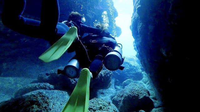 青の洞窟をシュノーケリングで進む