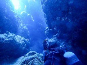 沖縄の海底からの幻想的な光景
