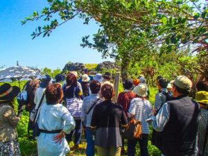パナリ島の島内散策ツアーに参加中の団体客