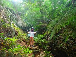 ジャングルをトレッキング中の女性