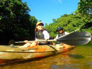 西表島のマングローブの中をカヤック(カヌー)で友達と進む