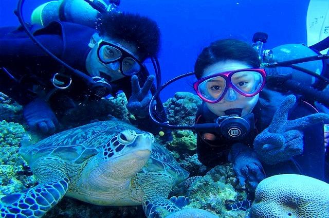 ケラマブルーの海でウミガメと記念撮影
